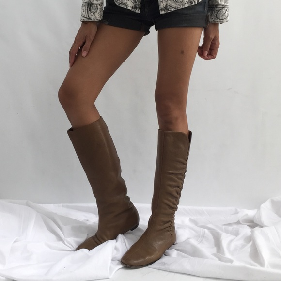 17dce6550f7 Jimmy Choo Shoes - Jimmy Choo taupe knee high flat boots